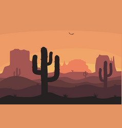 cactuse and mountains silhouettes desert vector image