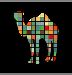 camel mammal color silhouette animal vector image