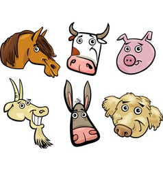 Cartoon farm animals heads set vector image