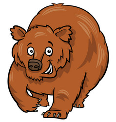 Cartoon grizzly bear animal character vector