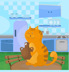 cat eats sour cream from a ceramic bowl on table vector image