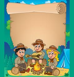 Children scouts theme parchment 1 vector