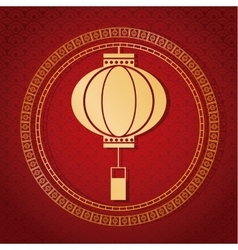 Chinese new year 2017 traditional lantern golden vector