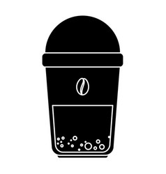 coffee in plastic cup icon vector image