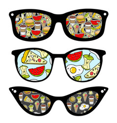 Creative set of retro sunglasses with pattern vector