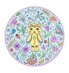 cute owl and floral pattern vector image