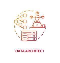 Data architect red gradient concept icon vector