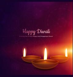 Diwali festival diya in glowing light background vector
