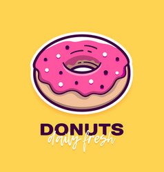 Donut with pink icing and text logo design vector