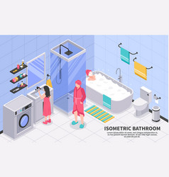Family bathroom isometric vector