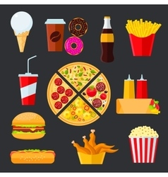 Fast food menu drinks and desserts vector image