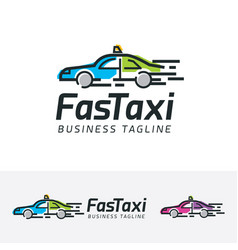 fast taxi logo design vector image