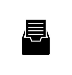 file cabinet with documents flat icon vector image