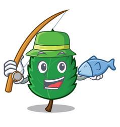 Fishing mint leaves mascot cartoon vector