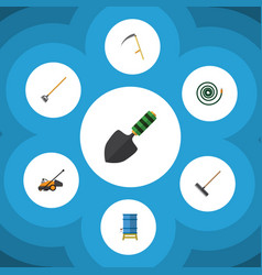 flat icon farm set of cutter trowel lawn mower vector image
