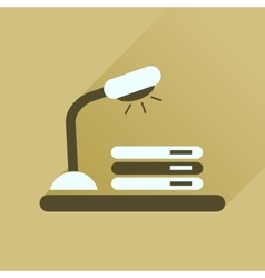 Flat icon with long shadow lamp documents vector image