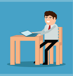 freelancer is sitting at the desk vector image