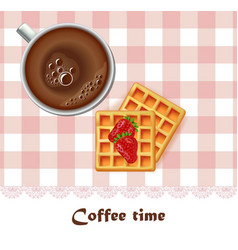 fresh coffee cup and waffles breakfast vector image