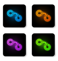 glowing neon sexy fluffy handcuffs icon isolated vector image
