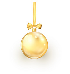 gold christmas ball with golden silk ribbon and vector image