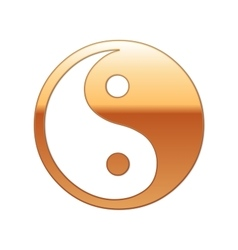 Gold Yin Yang symbol icon on white background vector image