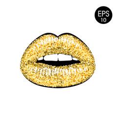 Golden lips vector