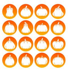 Halloween pumpkin white silhouette icon set vector