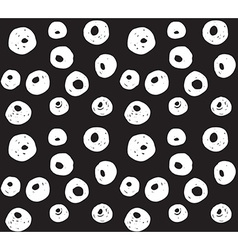 Hand drawn black brush circles and dots seamless vector image vector image
