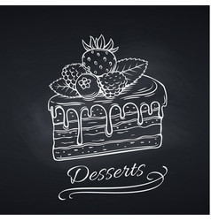 Hand drawn cake on chalkboard vector