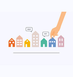 Hand holding home with buy or rent speech bubbles vector