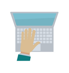 Hand typing on laptop or computer keyboard vector