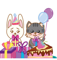happy birthday animals vector image