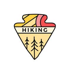 hiking logo emblem template adventure label vector image