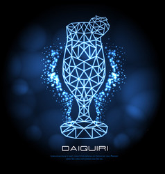 hipster polygonal cocktail daiquiri neon sign vector image