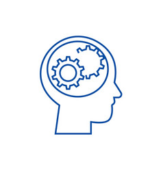 human head with gears line icon concept human vector image