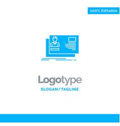 Id user identity card invitation blue solid logo vector