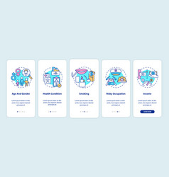 Insurance cost factors onboarding mobile app page vector