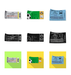 Isolated object of ticket and admission sign set vector