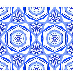 Kaleidoscopic pattern blue flower background vector