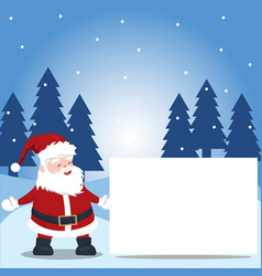 landscape falling snow with pine trees and santa vector image
