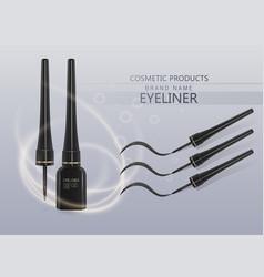 Liquid eyeliner set eyeliner product mockup for vector