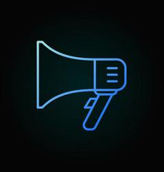 Megaphone blue outline icon on dark vector