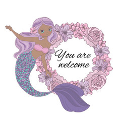 Mermaid welcome sea princess wreath vector