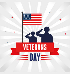 Military with flag in honoring to veterans day vector