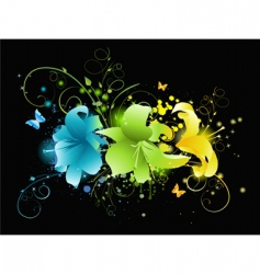 Multicolored flowers on black background vector