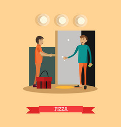 pizza delivery in flat style vector image