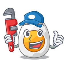 Plumber freshly boiled egg isolated on mascot vector
