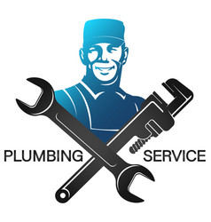 Plumber in uniform with wrench symbol vector