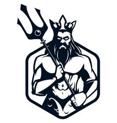 Poseidon god logo vector