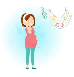 Pregnant woman enjoy music vector